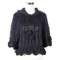 ladies poncho - QD10938 Lady Fashion Genuine Rabbit Fur Poncho with sleeve charm lovely sweater In stock