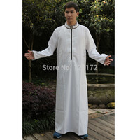 Wholesale 2014 New Fashion White Cotton Abaya Muslim Prayer Jilbab Thobe Islamic Clothing Arabic Dubai Turkish Long Dress for Men