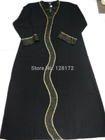 Wholesale Gold thread mesh muslim embroidery black abaya dress islamic abaya clothing turkish jilbab thobe prayer clothes