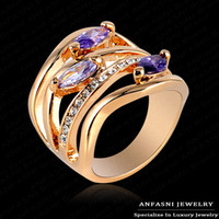 Wholesale Engagement Party Jewelry For Women Genuine Austrian Crystals Finger Rings K Rose Gold Plated Rings Full Sizes
