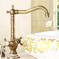 Wholesale Antique Bronze Finish Degree Swivel Brass Faucet Bathroom Basin Sink Mixer Bath amp kitchen taps Faucet H