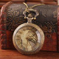 brass horse - Unique antique brass watch pocket steampunk horse shape glass face roman number analog alloy quartz with chain top sale dropship