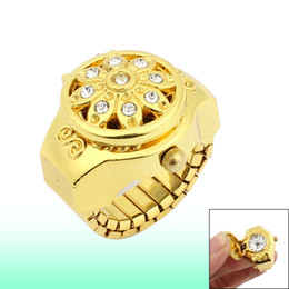 Wholesale Glittery Crystal Detail Arabic Number Round Dial Finger Ring Watch Gold Tone