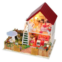 Wholesale D Assembling DIY garden Wooden Peppa Pig Doll House Kids Educational Dollhouse Gift With Furniture toy Children best gift