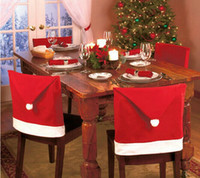 Wholesale 2014 top hot Christmas Seat Cover Chair Back Covers Santa Claus Hat Dinner Christmas Decoration Hot Christmas productsmas Gift