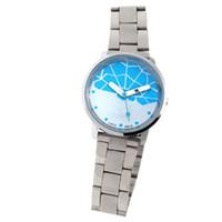 Cheap Blue Web Round Dial Metal Band Women Quartz Wrist Watch