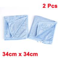 Wholesale 2 x Car Light Blue Microfiber Cleaning Washing Tool Cloth Pad Towel cm x cm