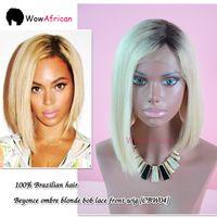 Cheap Wholesale-Beyonce Glueless Brazilian Lace Front Wigs Human Hair Ombre Blonde Color 2# 613# Short Straight Bob Wigs For Black Women GradeA+
