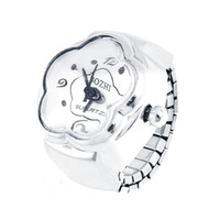 Wholesale Woman Arabic Number Round Dial Finger Ring Watch Silver Tone