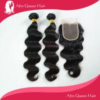 Cheap Wholesale-6A Virgin Brazilian Human Hair Weave Bundles with Middle Part Lace Closure, 3pcs lot Cheap Body Wave Natural Black Human Hair