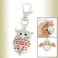 Wholesale Silver Tone Red Lobster Clasp Keychain Metal Owl Shape Quartz Watch