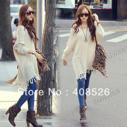 Wholesale-New Hot Womens Woolen Knitting Tops Loose Sweater Dress Long Knitting sweater Outerwear Black  Apricot 10075