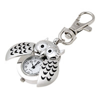 Cheap Mini Key Ring Owl Bird Quartz Watch Clock Silver Tone