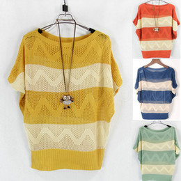 Wholesale Q212 New Women Ladies Batwing Short Sleeve Casual Loose Stripe Blouse Hollow Out Pullover Jumpers Knitting Knitwear Sweater Tops