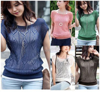 Cheap Wholesale-freeshipping 2014 new and fashion style Women Loose Hollow-out Short Batwing Sleeve Knit Pullover Jumper Knitwear SV000305