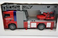 Wholesale hsb toys Luminous fire dept child toy car fire truck ladder lift high pressure water gun fire truck