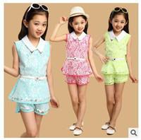 Wholesale Retail Set Girls Clothing Sets New Summer lace vest tops Short Set Children teen clothing set