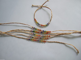 Wholesale 20pcs Natural Woven Raffia Glass Seed Bead Friendship Bracelet Rainbow Fine Jewelry