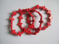 Wholesale 12pcs Stretch Bracelet Red Turquoise Cross Beads Elastic String Jewelry