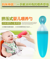 Wholesale It is not only a spoon but also baby bowl cup infant food supplement feeding spoon baby cereal liquid PP silicone spoon ml