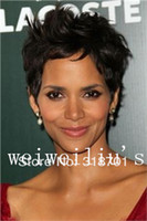 berry wig - Top Quality Celebrity hairstyles Halle Berry Graceful Hairstyle Super Natural Short Curly Dark Brown Inches Wig