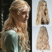 Wholesale New Movie Maleficent Wig Princess Aurora Long Wavy Mixed Blonde Wig with braid Cosplay Anime wig