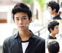 short hair wigs - New Aircraft boy wig men handsome students short hair male hair fleeciness realistic wig inclined bang