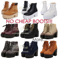 Cheap Wholesale-2015 Stylenanda Fashion Yellow Black White Autumn Boots Creepers Lace Up Combat Ankle Boots Heels Flat Platform High Top Shoes