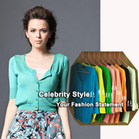 Cheap Wholesale-C32 Celebrity Style Women Crop Tops Cardigan with Pocket Autumn Spring Short Sweater Coat Jumper Knitwear 2015 New Free Shipping