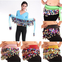 Wholesale Colorful Sequin Belly Dance Hips Scarf Chiffon Skirt Wrap Gold Coin Waist Belt Free Drop shipping