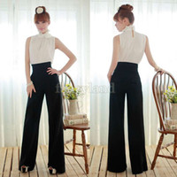 Wholesale Women Summer Palazzo High Waist Flare Pant Career Casual Business Wide Leg Trousers Loose Pants Drop Shipping SV008108