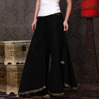 Wholesale Brand Women Panats Plus Size palazzo pants Vintage Glod Silk Wide Leg Pants Casual Outdoor Long Trousers W572