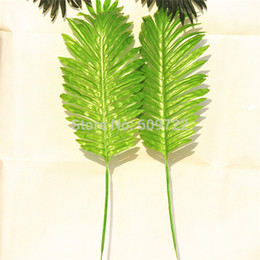 Wholesale 2015 New cm Fabric Wedding Home Church Furniture Decor Artificial Coconut Palm Plant Tree Branch Leaves for Bonsai Green FL1669