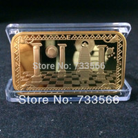masonic - New Designs With Serial Number OZ Gold Plated Masonic Souvenir Bullion Bars