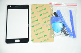Wholesale Black Front Glass Screen Lens Replacement Repair for Samsung Galaxy S2 GT i9100 Glass Free M Sticker and Tools