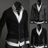 Wholesale Cheap Designer Clothes For Men Pocket Zipper Decoration Wool Cashmere Sweater Outerwear Slim Cardigan