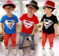 Cheap Wholesale-Hot Sale Children Kids Clothing Tees,Cool Superman Baby Boys T Shirts For Summer,Children Outwear Baby T-shirt