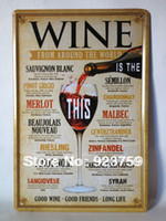Wholesale Wine around the world Tin Sign Bar pub home Wall Decoration Retro Metal Art Poster crafts