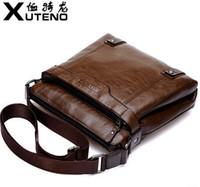 Wholesale quot XUTENO quot designer brand name wax leather men shoulder bag handbag messenger bag cross body handbag briefcase men