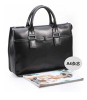 Wholesale Genuine Leather Black Briefcases Classical Style Best Gift for Friend