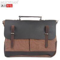 Wholesale HOT selling Vintage commercial cowhide handbag canvas crazy horse leather shoulder bag fashion canvas casual bag