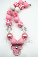 Wholesale Pink cute MINI mouse animal bubblegum acrylic solid chunky beads statement necklace CB209