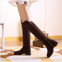 leather over knee boots - Fashion PU Leather Women Boots Solid Nubuck Leather Flat Lady Shose Long Boots Over Knee boots Women winter Shose S007
