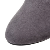 Wholesale Big size high quality hot new women casual thin heels winter over the knee boots gray color rubber material pumps