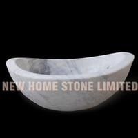 Wholesale Freestanding oval tub white marble tub with gray veins stone bathtubs australia