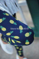 Wholesale New Fashion Cotton Elastic Leggings with Pineapple Print Pattern for Women Spring and Autumn Skinny Pants