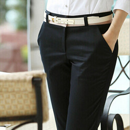 Wholesale-Office Ladies Career Pants Elegant Long Black Cotton Casual Women's Pants For Business Work Slim Trousers Female S-XXXL 2123