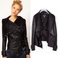 women black short leather jacket - New Brand Faux Leather Jacket Women Casual Fashion Women Coat Slim Short Motorcycle Coat Black Outerwear Tops SV00604