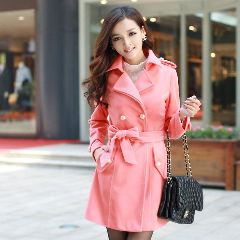Wholesale-Women Fashion Pink Woolencoat with Belt Ladies Big Lapel ...