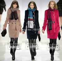 Wholesale Brand New Designer Women Double Breasted Wool Coat Elegant Princesscoat With Scarf